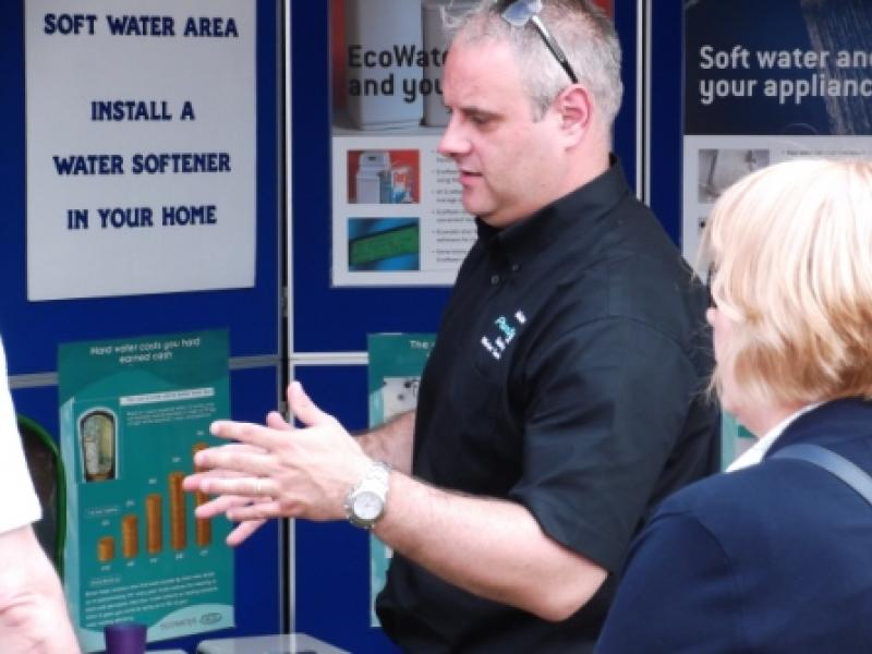Seller of Water Softeners at Bath and West Water Softener trade stand